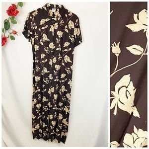 🌼Old Navy Brown Floral Button Up Long Maxi Dress